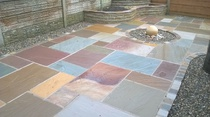 Lakeland sandstone flags and ball water feature